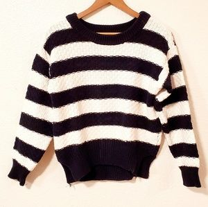 MINKPINK Navy and White Striped Hi Lo Sweater